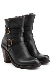 Fiorentini Baker And Leather Double Strap Ankle Boots Black