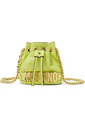 Moschino Embellished Neon Leather Shoulder Bag Yellow