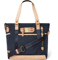 Master Piece Leather Trimmed Canvas Tote Bag Navy
