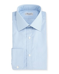 Charvet Tight Plaid Dress Shirt Blue