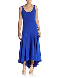 Milly Stretch Drop Waist High Low Dress Cobalt Blue