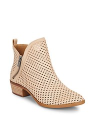 Lucky Brand Basonta Perforated Leather Ankle Boots Bisque