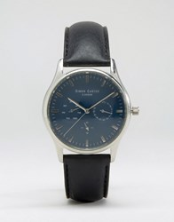 Simon Carter Black Leather Chronograph Watch With Blue Dial Black