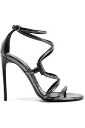 Tom Ford Embellished Glossed Ayers Sandals Anthracite