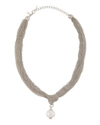 Emily And Ashley Multi Strand Knotted Pearly Pendant Necklace Silver
