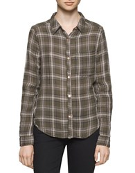 Calvin Klein Jeans Crinkled Long Sleeve Cotton Shirt Olive Night