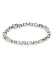 Effy Blue Topaz Peridot And 14K White Gold Tennis Bracelet Blue Green