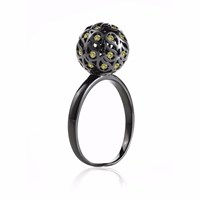 Sonal Bhaskaran Svar Ruthenium Sphere Ring Yellow Cz Black Yellow Orange