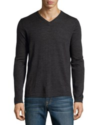 Neiman Marcus Wool V Neck Modern Fit Sweater Shadow