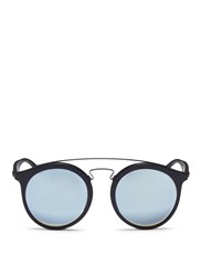 Ray Ban 'Rb4256f' Round Mirror Sunglasses Blue Black