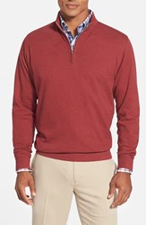 Men's Peter Millar Interlock Quarter Zip Sweatshirt Tomato