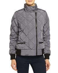 Marc New York Marc Ny Performance Quilted Puffer Moto Jacket W Detachable Sleeves Chrome