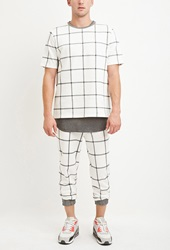 Forever 21 Drawstring Grid Patterned Joggers Cream Grey