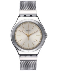Swatch Unisex Swiss Mesh Up Stainless Steel Bracelet Watch 42Mm Yws419ga Silver