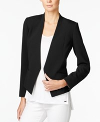 Armani Exchange Collarless Open Front Blazer Solid Black