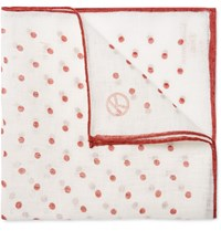 Kingsman Drake's Polka Dot Linen Handkerchief Red