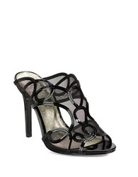 Adrianna Papell Glam Mesh Accented Open Toe Mules Black