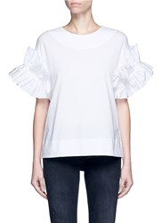 Victoria Beckham Ruffle Sleeve Cotton T Shirt White