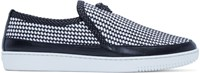 Versace Black And White Leather Woven Slip On Sneakers