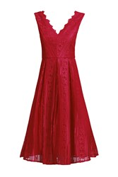 Jolie Moi Striped Pattern Lace Prom Dress Red