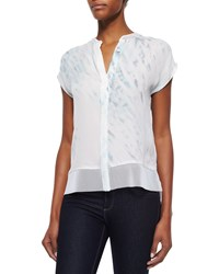 Elie Tahari Dylan Short Sleeve Button Front Blouse White
