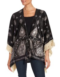 California Moonrise Fringed Velvet Kimono Black