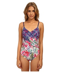 Badgley Mischka Nadia Draped Front Mio Multi Women's Swimsuits One Piece