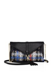 Milly Astor Leather And Pied De Poule Tweed Clutch Black Multi