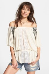 Free People New World Off The Shoulder Butterfly Tunic White