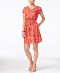 G.H. Bass And Co. Floral Print Fit And Flare Dress Strawberry Combo