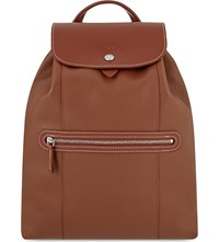 Longchamp Le Foulonne Leather Backpack Navy