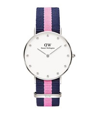 Daniel Wellington Classy Winchester Stainless Steel Pink Nylon Strap Watch 36Mm