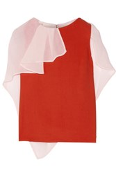 Antonio Berardi Crinkled Chiffon Trimmed Crepe Blouse Red