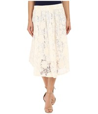 Bobeau Olive Crochet Circle Skirt Ivory Women's Skirt White