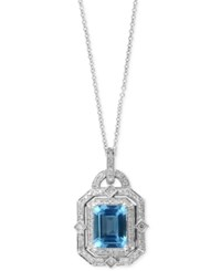 Effy Collection Ocean Bleu By Effy Aquamarine 2 3 8 Ct. T.W. And Diamond 1 3 Ct. T.W. Pendant Necklace In 14K White Gold