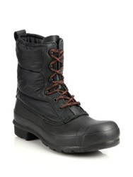 Hunter Original Quilted Short Lace Up Boots Black