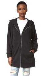 Alexander Wang Soft French Terry Long Zip Hoodie Black