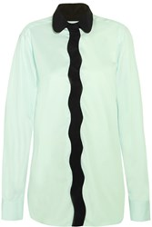 Issa Curvy Kitty Silk Crepe Trimmed Cotton Poplin Shirt Green