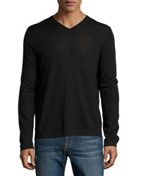 Neiman Marcus Wool V Neck Modern Fit Sweater Black
