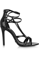 Schutz Patent Leather Sandals Black