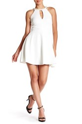 Speechless Faux Pearl Embellished Skater Dress White