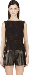 Marc Jacobs Black Sleeveless Boat Neck Blouse