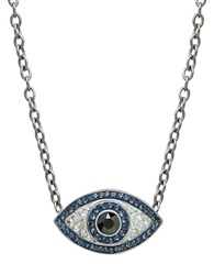 Lord And Taylor Sterling Silver And Crystal Evil Eye Necklace Blue Crystal