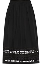 Sea Cutout Embroidered Cotton Voile Skirt Black