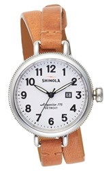 Women's Shinola 'The Birdy' Double Wrap Leather Strap Watch 34Mm Natural White