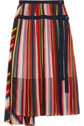 Sacai Grosgrain Trimmed Pleated Striped Chiffon Skirt Red Pink