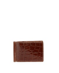 Neiman Marcus Alligator Embossed Leather Flip Wallet With Money Clip Cognac