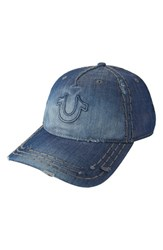 Men's True Religion Brand Jeans 'Distressed Horseshoe' Baseball Cap Blue Dark Indigo