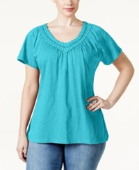 Jm Collection Woman Jm Collection Plus Size Short Sleeve Crochet V Neck Tee Only At Macy's Turquoise Pool