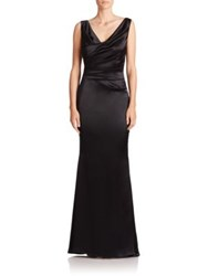 Talbot Runhof Ruched Satin V Neck Gown Black